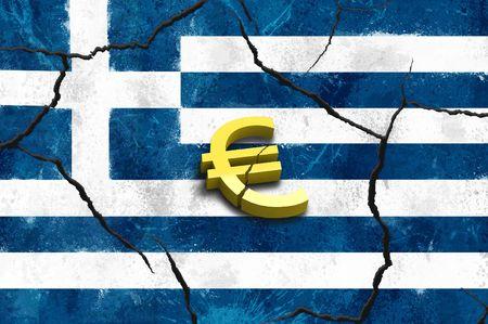 Euro symbol on greek crack flags background Stock Photo