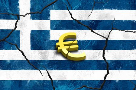 Euro symbol on greek crack flags background Stock Photo