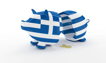 Greek money pig breaked illustration rendering Stock Photo