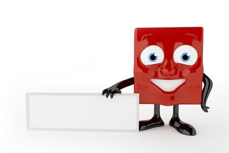 Red cute character with empty white board Stock Photo - 6981440