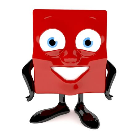 Red cute character with cube face and radiant smile Stock Photo - 6981441