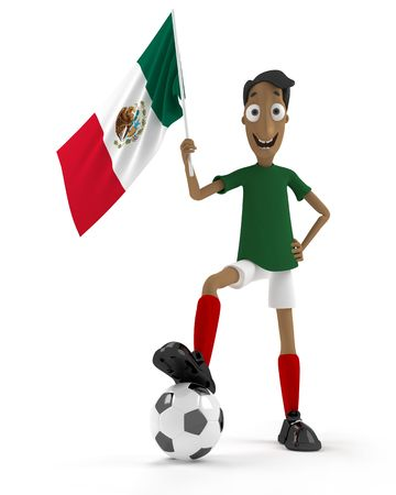 Smiling cartoon style soccer player with ball and Mexico flag photo