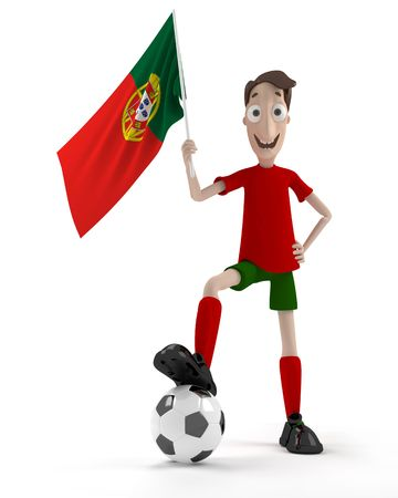 Smiling cartoon style soccer player with ball and Portugal flag Stock Photo - 7005570