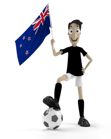 Smiling cartoon style soccer player with ball and New Zeland flag photo