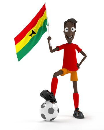 Smiling cartoon style soccer player with ball and Ghana flag photo