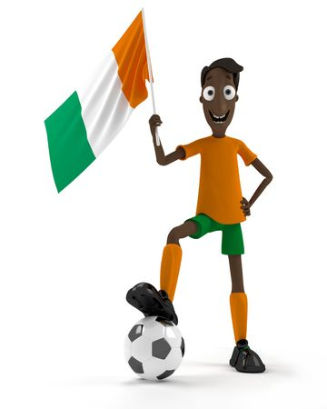 Smiling cartoon style soccer player with ball and Ivory Coast flag photo