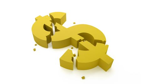 Dollar symbol break for economic crisis concept Stock Photo - 7041395