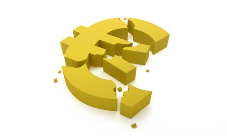 Euro symbol break for economic crisis concept Stock Photo - 7041394