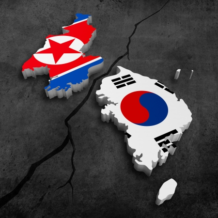 south asian: South and north korea break for politicy crisis concept