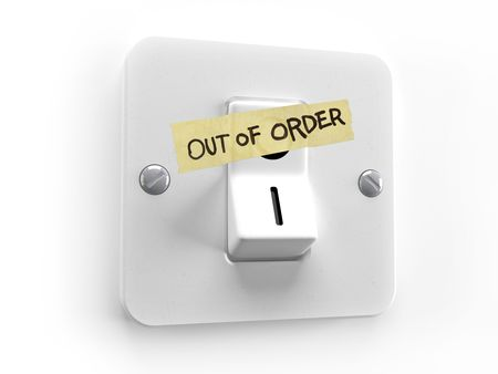 out of order: Out of order lighting system control - 3d image Stock Photo