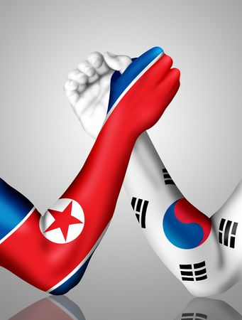 Arm wrestling between North and South Korea photo