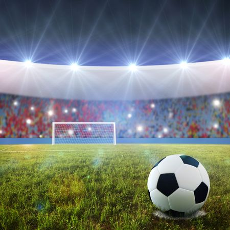 sport fan: Soccer ball on penalty disk in the stadium  Stock Photo