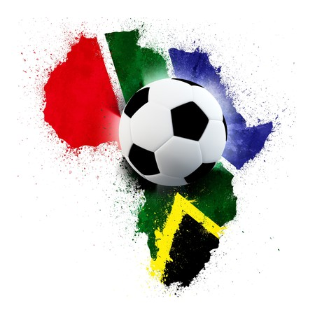 worldcup: Soccer ball on south African grunge painted flag