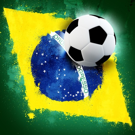 sports flag: Soccer ball on Brazil grunge painted flag Stock Photo
