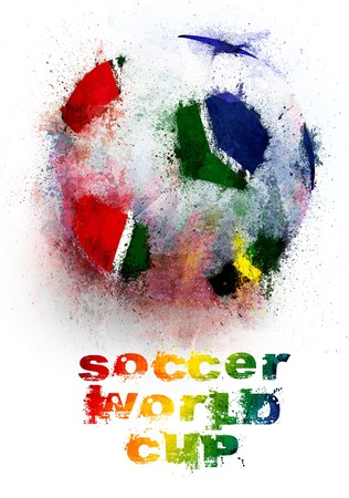 world ball: Soccer ball grunge painted for abstract illustration