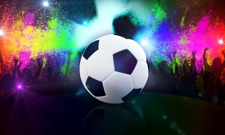 exultation: Soccer ball and fan in abstract background