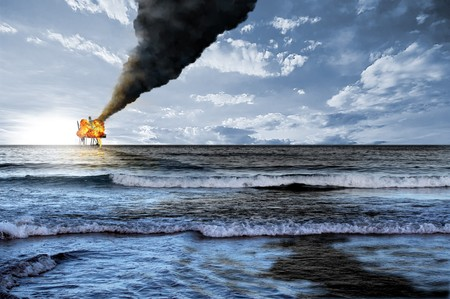 Oil platform accident and black petroleum tide polluted the ocean waters photo
