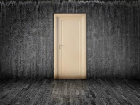 The white door on grunge grey wall Stock Photo - 7358802