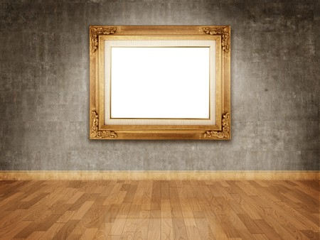 art museum: Empty golden frame on dark concrete wall