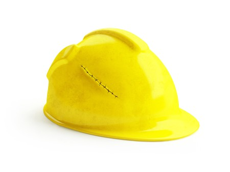 suture: Safety yellow helmet with suture incident wound