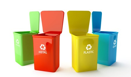 Four containers for recycling paper, metal, glass and plastic photo