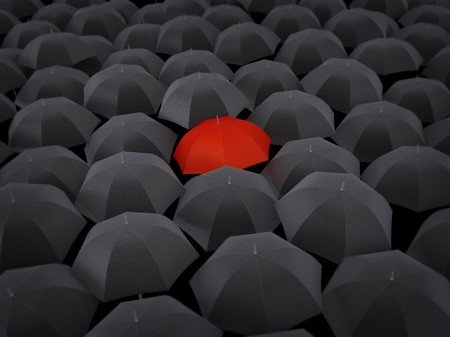 oneness: Many umbrellas black and only one red