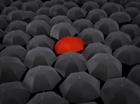 oneness: Molti ombrelloni neri e solo uno rosso