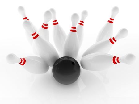 bawl: Ten pin and black polished bowl to strike shot
