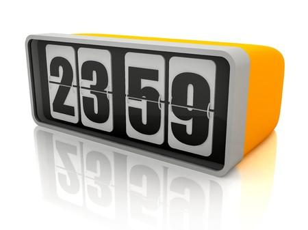in midnight: The alarm clock marks almost midnight - 3d illustration Stock Photo