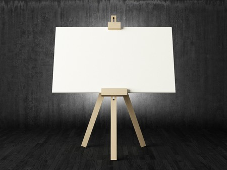 Empty white canvas for artist on wooden easel in dark room