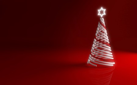 modern christmas tree on red background for greetings card photo