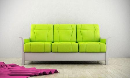Green modern sofa luminous room with parquet floor Stock Photo - 7966531