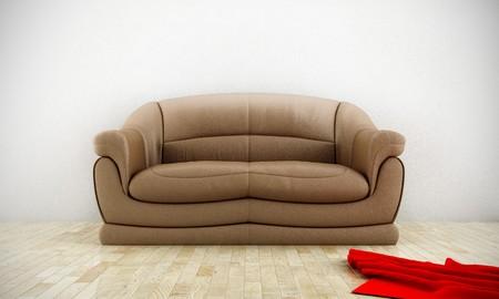 Leather comfortable sofa in luminous room with parquet floor Stock Photo - 7966529