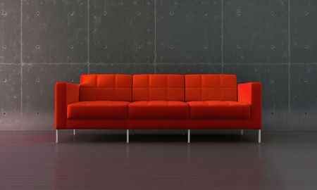 Red sofa in modern room with parquet and concrete wall Stock Photo - 7966532