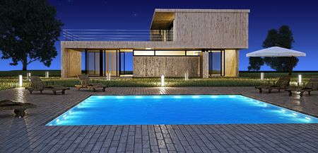 Modern house with swimming pool in night vision