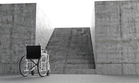 Rollstuhl in front eine architektonische Barrieren Standard-Bild - 8082136