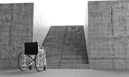 barriers: Wheelchair in front an architectural barriers Stock Photo