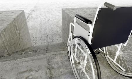 handicap: Sedia a rotelle in anteriore un barriere architettoniche
