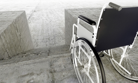 Wheelchair in front an architectural barriers Stock Photo - 8082139