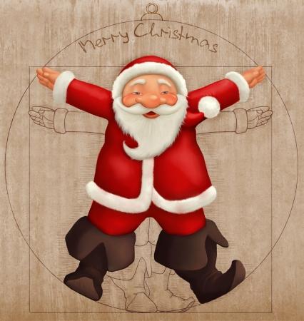 Santa Claus Leonardo's vitruvian man style Standard-Bild