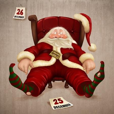 agotado: Cansado Santa Claus el d�a despu�s de Navidad  Foto de archivo