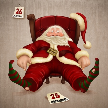 Tired Santa Claus the day after Christmas