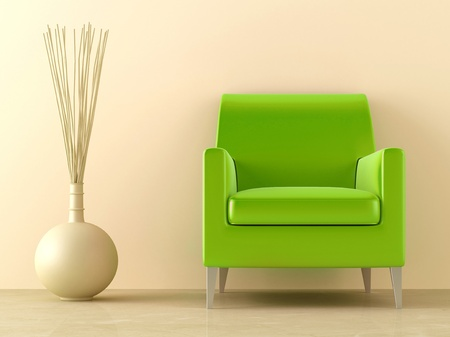 Green modern style seat and ornaments vase in interior