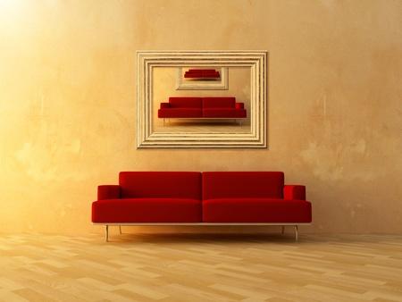 unendlich: Bild von Haus wiederholen, in Frame auf Wand Zimmer