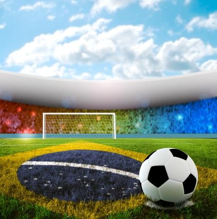 Soccer ball on penalty disk in brazilian stadium