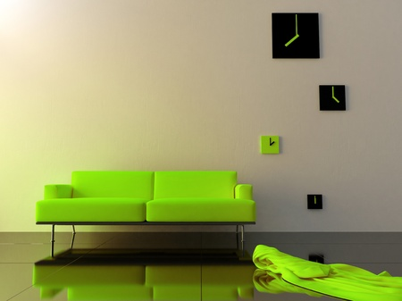 time zone: Green sofa and time zone clock