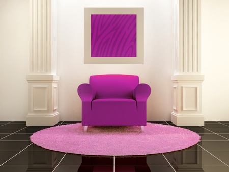 Pink seat between the columns