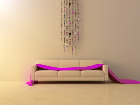 Pink cloth on sofa and ring chain on wall