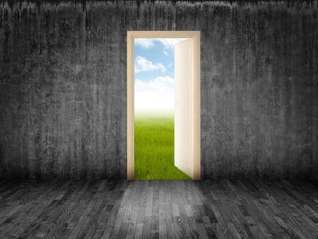 The white door open on luminous field  Archivio Fotografico