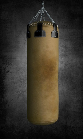 Ruined boxing punch bag on dark background